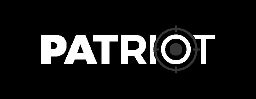 Biele logo - PATRIOT - Strelnica & Armyshop Košice